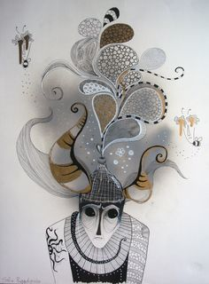 a head full of gold & mud by sofia papadopoulou, via Behance