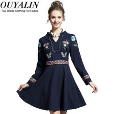 L- 5XL Autumn Dress Long Sleeve V neck Fit Flare Short Mini Party Embroidery Patch Detail Like and Share if you agree! http://www.artifashion.net/product/l-5xl-autumn-dress-long-sleeve-v-neck-fit-flare-short-mini-party-embroidery-patch-detail/ #shop #beauty #Woman's fashion #Products