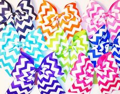 Three (3) inch Chevron Hair Bow | WeveGotSpiritBows - Accessories on ArtFire