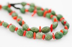 Green beaded necklace / chunky spring green and red by DevikaBox, $99.00