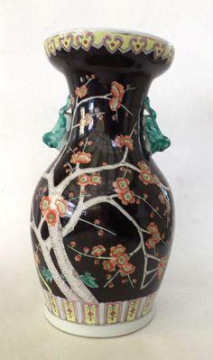 ANTIQUE Famille Noire Vase, China, 19th century, Black vase