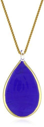 """Yummi Glass 24k Gold-Painted Murano Glass Lapis-Color Large Pear Pendant Necklace Yummi Glass. $212.50. Made in Italy. Hand-made Murano glass necklace on rope cord and a sterling toggle. Lapis long pearl necklace with 24k gold paint outline. Strung at 18"""""""