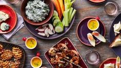 Get Bacon-Wrapped Brussels Sprouts with Creamy Lemon Dip Recipe from Food Network
