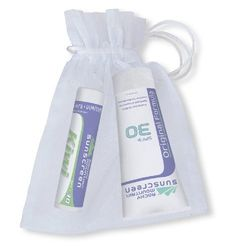 Rocky Mountain White Organza Gift Bag with 1 Lip Balm Kiwi SPF 30 ( 4.9 grams) and 1 Tube Sunscreen SPF 30 (1-Ounce), 25-Count Organza Bags by Rocky Mountain Sunscreen. $120.00. Greaseless,Will not clog pores-Wedding gift. Broad Spectrum UVA/UVB Protection. Unique Bonding Base,formula.  Waterproof (Very Water Resistant), and  Hypoallergenic. Official Sun Protection of Vail, Beaver Creek, Breckenridge, Keystone and Telluride Resorts. Fragrance free, Paba Free. Protect your gues...
