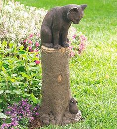 Amazon.com: Bronze-Colored Cat and Mouse Sculpture Made of Weatherproof Resin: Patio, Lawn & Garden