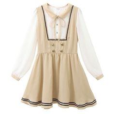 (ニューリーミー)Newlyme レイヤード風セーラーワンピ ❤ liked on Polyvore featuring dresses, lolita and brown dress