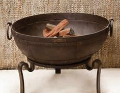 Free Standing Cast Iron Fire Pit with wrought iron base