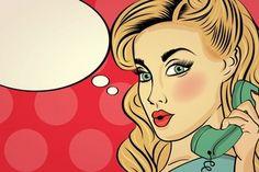 Mujer sorprendida pop art hablando por teléfono retro