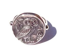 Ring. The 'Owl of Wisdom'. A museum quality reproduction of the Athenian silver tetradrachm coin made from solid Sterling Silver