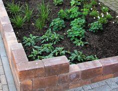 Klein maar fijn. Door het plaatsen van een muurtje en een heester in combinatie met lage vaste planten, krijgt deze kleine tuin een nette uitstraling.