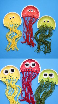 Paper plate jellyfish craft for kids. Easy ocean animal craft or deep sea unit s… Paper plate jellyfish craft for kids. Easy ocean animal craft or deep sea unit study for preschoolers, kindergartners and older kids. Summer Crafts For Kids, Paper Crafts For Kids, Paper Crafting, Diy Paper, Craft Kids, Kids Diy, Crafts For Kids To Make, Summer Kids, Spring Crafts