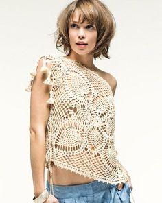 Hooked on crochet: Blusa quadrada de crochê / Square crochet top