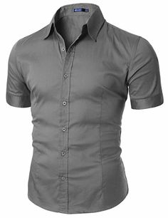 Doublju Mens Wrinkle Free Short Sleeve Dress Shirts GRAY (US-M) - crock pot fashion Stylish Shirts, Casual Button Down Shirts, Casual Shirts, Casual Outfits, Men Casual, Fashion Outfits, Men's Fashion, Half Shirt For Man, Half Shirts