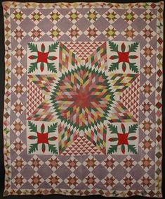 Stars with Applique Quilt: Circa 1870; Pennsylvania 82x99