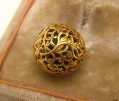 Antique 19th C. Japanese 14K Gold Ojime Bead Vines Leaves # 9 Netsuke
