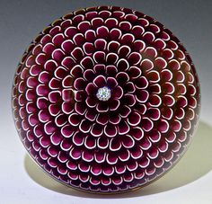 "Saint Louis { France } paperweight - Muave and White Honeycomb, 1974, 3""w x 2 1/8""t, 18.3 oz. - #0699"