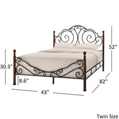 Bronze Iron Bed Antique Scroll Metal Platform Full Brown Headboard Footboard New Furniture, Wrought Iron Furniture, Bed Furniture, Steel Bed Design, Bed Frame And Headboard, Headboard And Footboard, Iron Decor, Wrought Iron Beds, Iron Bed