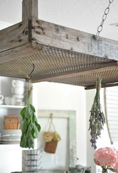 Olde crate as an herb drying rack