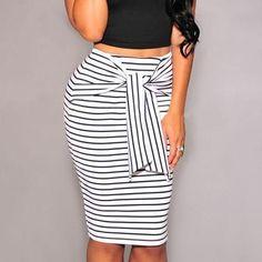 2017 Fashion Women skirt Stripe High Waist Pencil Skirt Lace Zipper Midi Plus Size White And Black Sexy Bodycon Skirt For Women