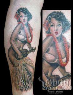 Hula Dancer Pinup Girl Tattoo