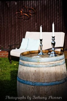Wine barrel used for decoration at a 1920's themed party  *whiskey barrel!!!
