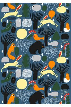 Huhuli cotton fabric by Marimekko