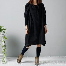 Nice Plus Size Black Dresses 2016 Plus size winter coat black trench cardigans hoodied...
