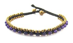 MGD, Purple Amethyst Color Bead with Golden Beads and Brass Bell Anklet. Beautiful Handmade Stone Ankle Bracelet Made From Wax Cord. Fashion Jewelry for Women, Teens and Girls, JB-0178A
