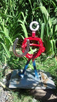 Garden art lucky horseshoe guy flower pot holder by 4FendersFarm, $50.00