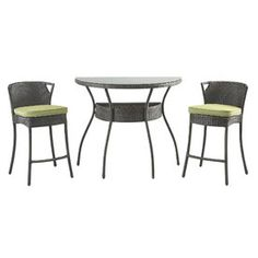 Foremost Casual 3-Piece Glass Patio Dining Set Fg-Metbs