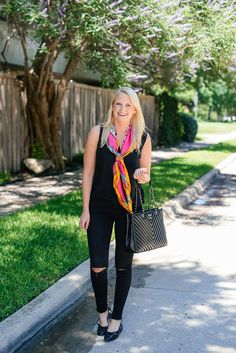 The Style Scribe - black tank, black jeans, bright scarf