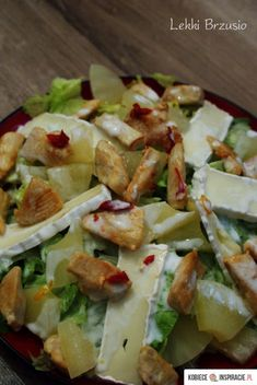 Sałatka z kurczakiem, ananasem i camembertem Składniki… na Stylowi.pl Salad Dressing Recipes, Salad Recipes, Sprout Recipes, Cooking Recipes, Healthy Recipes, Pasta, My Favorite Food, Good Food, Food And Drink