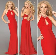 Beaded Halter Neckline Evening Dresses by La Femme