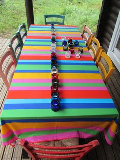 The table in the patio of my cottage, Kuhmo Finland. Textil and Kivi-tealights, Marimekko (Heikki Orvola) Home Food, Marimekko, Finland, Tea Lights, Stripes, Cottage, Homes, Patio, Cars