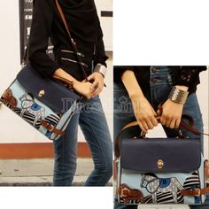 New Korean Women's Handbag Blue Pony Hobo PU Leather Shoulder Bag Messenger Bag Tote
