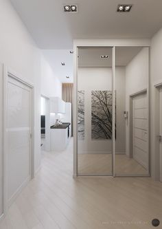 Apartment, Interesting Small Apartment Design Ideas With Mirrored Doors Design Also Modern Ceiling Lights And Beige Floorboards Color Also White Modern Door: Minimalist Small Apartment Living Room Ideas Small Apartment Bedrooms, Small Apartment Design, Small Apartment Decorating, Small House Design, Home Entrance Decor, Hallway Ideas Entrance Narrow, Modern Hallway, Modern Door, Deco Studio