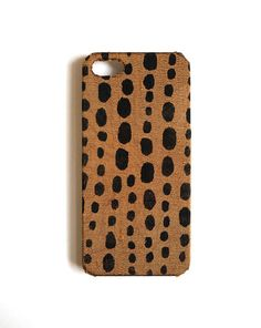 Iphone 5 case black dots on golden brown