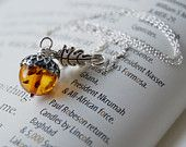 Amber and Silver Acorn Necklace