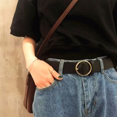 ROUND BUCKLE BLACK LEATHER VINTAGE BELT