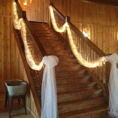 Tulle and lights for the stairs at Boulder Springs.