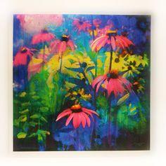 Summer rain, 16x16 inches, Art, Original, Mixed media photograph, Florals, flowers, colorful art