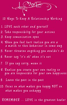 10 Ways to keep a relationship working #love