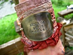 Love!  Moobie Grace - Bohemian Bracelet - Vintage Spoon Bracelet - Hand Stamped - Antique Silverware - Rustic - Shabby - Tattered - Boho