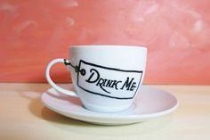 Alice in Wonderland drink me white teacup with saucer -  cartoon mug, hand painted mug, coffee mug, tea party gift by CoralBel on Etsy