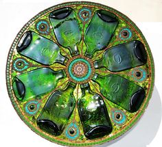 Items similar to SOLD - Mosaic table, 'light box', upcycled green bottles, peacock feather, mosaic art on Etsy Mosaic Glass, Fused Glass, Stained Glass, Glass Art, Glass Beads, Mirror Mosaic, Licht Box, Recycled Glass Bottles, Bottle Wall