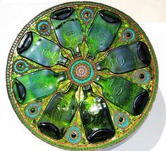 Mosaik Tisch, 'light box', upcycled grünen Flaschen, Mosaikkunst