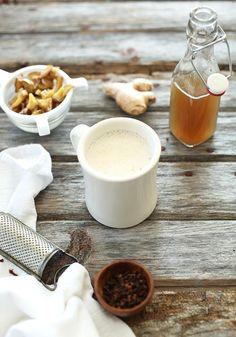 3 Ingredient Ginger Tea Latte w/ ginger syrup recipe #vegan #glutenfree
