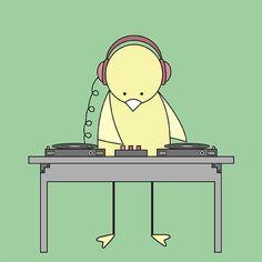 Bird spinning vinyl