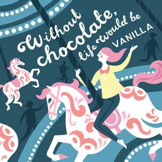 Lucy Davey #Illustration #carasel #merrygoround #funfair #chocolate #vanilla #childhood #fun #typography