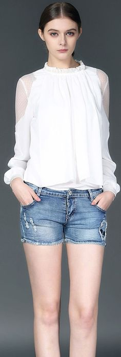 White Lantern Sleeves Blouse